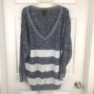 Lane Bryant Navy/White Stripe V-Neck Sweater